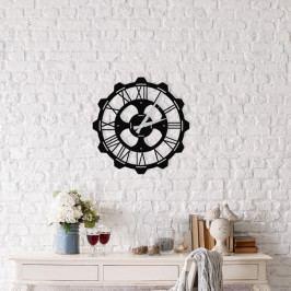 Černé nástěnné hodiny Meteor Clock, ⌀ 48 cm