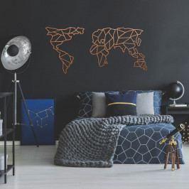 Kovová nástěnná dekorace v měděné barvě Geometric World Map, 120 x 58 cm