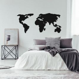 Černá kovová nástěnná dekorace World Map Two, 121 x 56 cm