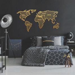 Kovová nástěnná dekorace ve zlaté barvě World Map In The Stripes, 150 x 80 cm