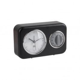 Černé stolní hodiny s kuchyňskou minutkou PT LIVING Nostalgia