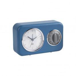 Modré stolní hodiny s kuchyňskou minutkou PT LIVING Nostalgia