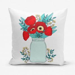 Povlak na polštář s příměsí bavlny Minimalist Cushion Covers Flowers in Vase, 45 x 45 cm