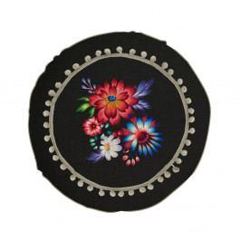 Oboustranný polštář s příměsí lnu Madre Selva Colorful Flowers, ⌀45cm