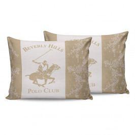 Sada 2 krémových bavlněných povlaků na polštáře Beverly Hills Polo Club Lerro, 50 x 70 cm