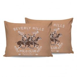 Sada 2 hnědých bavlněných povlaků na polštáře Beverly Hills Polo Club Marro, 50 x 70 cm
