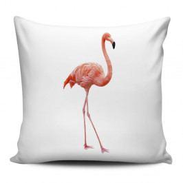 Bílý polštář Home de Bleu Flamingo, 43x43cm