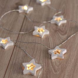 LED světelný řetěz ve tvaru hvězdiček DecoKing Star, 10 světýlek,délka1,65m