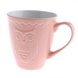 Růžový keramický hrnek Dakls Owl, 530 ml