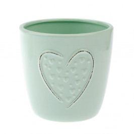 Zelený keramický květináč Dakls Heart, výška 12 cm