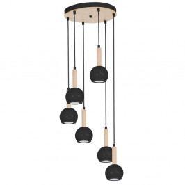 Černé závěsné svítidlo s dřevěnými detaily Bolle Seis Duro