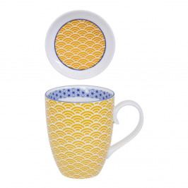 Žluto-bílý hrnek s talířkem Tokyo Design Studio Star/Wave, 380ml