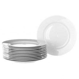 Sada 12 bílých porcelánových talířů Unimasa Elegant, průměr19cm