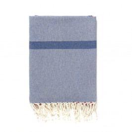Modro-šedá osuška s příměsí bavlny Kate Louise Cotton Collection Line Blue Grey Pink, 100 x 180 cm