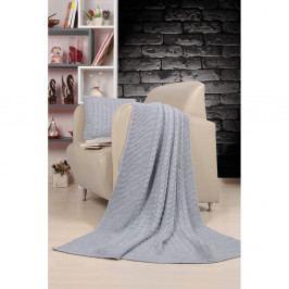 Set světle šedého přehozu a polštáře Kate Louise Tricot Blanket Set Sultan