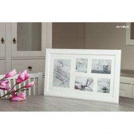 Bílý rámeček na 5 fotografií Styler Malmo, 27x51cm