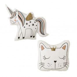Sada 2 polštářků ve tvaru jednorožce a kočky Unimasa