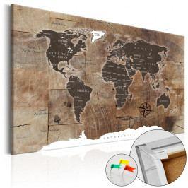 Nástěnka s mapou světa Bimago Wooden Mosaic, 90x60cm