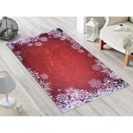 Červeno-bílý koberec Vitaus Snowflakes, 80 x 150 cm