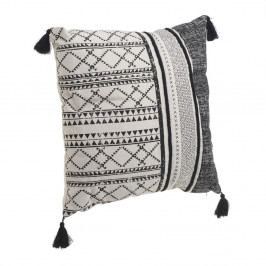 Černo-bílý polštář střásněmi InArt Tribe, 45x45cm