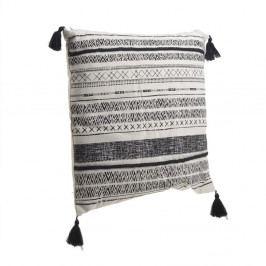 Černo-bílý polštář střásněmi InArt Tribe Stripe, 45x45cm