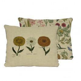 Oboustranný polštář s potiskem s příměsí lnu Surdic Flowers, 50 x 35 cm
