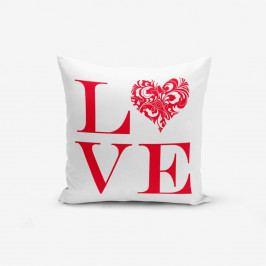 Povlak na polštář s příměsí bavlny Minimalist Cushion Covers Love Red,45x45cm