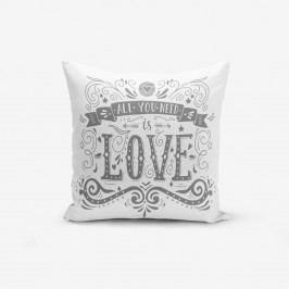 Povlak na polštář s příměsí bavlny Minimalist Cushion Covers Love is,45x45cm