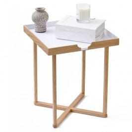 Bílý odkládací stolek z dubového dřeva Wireworks Damieh, 37x45 cm