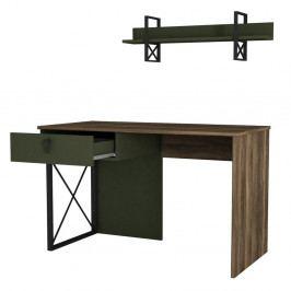 Tmavě zelený pracovní stůl s detaily v dekoru ořechového dřeva Ratto Latera