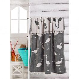 Černo-bílý ručník Flamingo, 180 x 100 cm