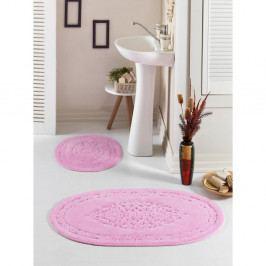 Sada 2 růžových oválných předložek do koupelny