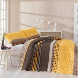 Set přehozu přes postel a povlaku na polštář s příměsí bavlny Miranda Yellow, 160 x 220 cm
