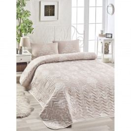 Set přehozu přes postel a 2 povlaků na polštář s příměsí bavlny EnLora Home Kralice Pink, 200 x 220 cm
