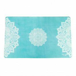 Tyrkysově modrý ručník na jógu Yoga Design Lab Mandala, 61x38cm