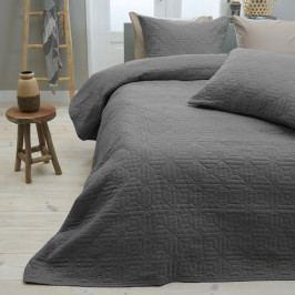 Antracitový přehoz přes postel se dvěma povlaky na polštář z mikroperkálu Sleeptime Memphis, 260x250cm