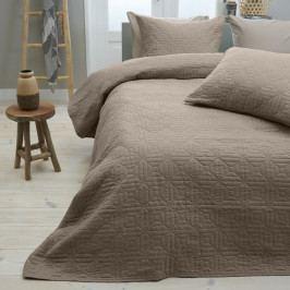 Hnědý přehoz přes postel se dvěma povlaky na polštář z mikroperkálu Sleeptime Memphis, 260x250cm