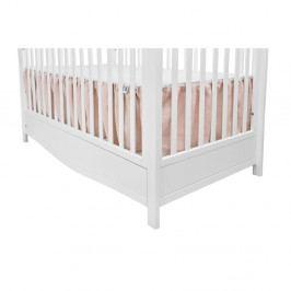 Růžová bavlněná dvoustranná záclonka pod matraci do dětské postýlky BELLAMY Dust Pink
