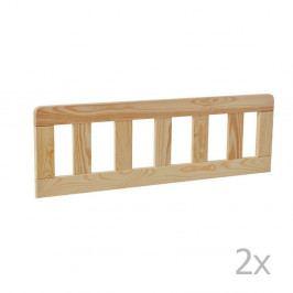 Sada 2 hnědých dřevěných zábran k dětské postýlce Pinio Classic, 160 x 70 cm