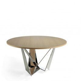 Kulatý jídelní stůl s deskou z dubové dýhy Ángel Cerdá Chrome