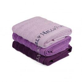 Sada 3 fialových bavlněných ručníků na ruce, 90 x 50 cm