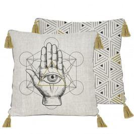 Oboustranný povlak na polštář s příměsí lnu Madre Selva Symbolic Hand, 45x45cm