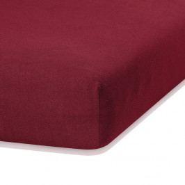Tmavě červené elastické prostěradlo s vysokým podílem bavlny AmeliaHome Ruby, 80/90 x 200 cm