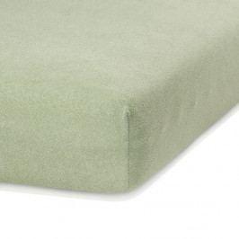 Olivově zelené elastické prostěradlo s vysokým podílem bavlny AmeliaHome Ruby, 140/160 x 200 cm