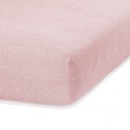 Světle růžové elastické prostěradlo s vysokým podílem bavlny AmeliaHome Ruby, 160/180 x 200 cm
