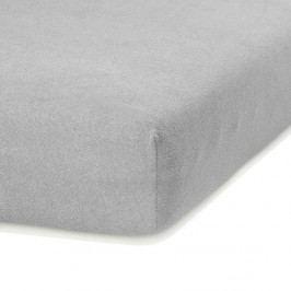 Světle šedé elastické prostěradlo s vysokým podílem bavlny AmeliaHome Ruby, 80/90 x 200 cm