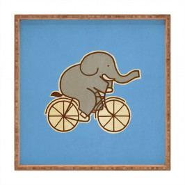 Dřevěný dekorativní servírovací tác Biking Elephant, 40x40cm