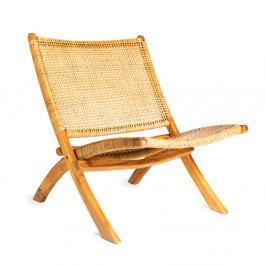 Hnědá židle s konstrukcí z teakového dřeva a výpletem z ratanu Simla Fold