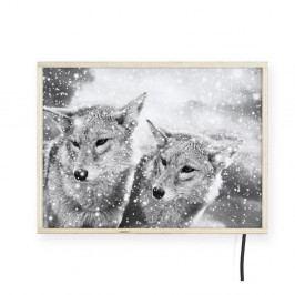 Světelná nástěnná dekorace s motivy vlků Surdic, 40 x 30 cm