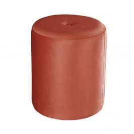 Korálově červený puf JohnsonStyle Ellen Magic Velvet, ⌀ 40 cm